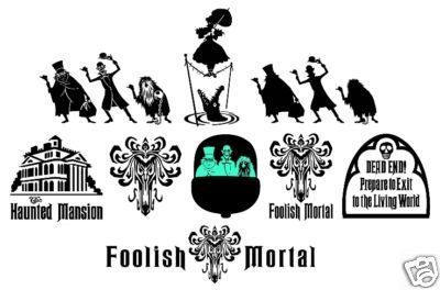 Haunted Mansion 6 Tall Beware of Hitchhiking Ghosts Decal Multiple Colors Available 6 Tall