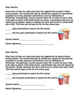 PG Movie Permission Slip FREEBIE!