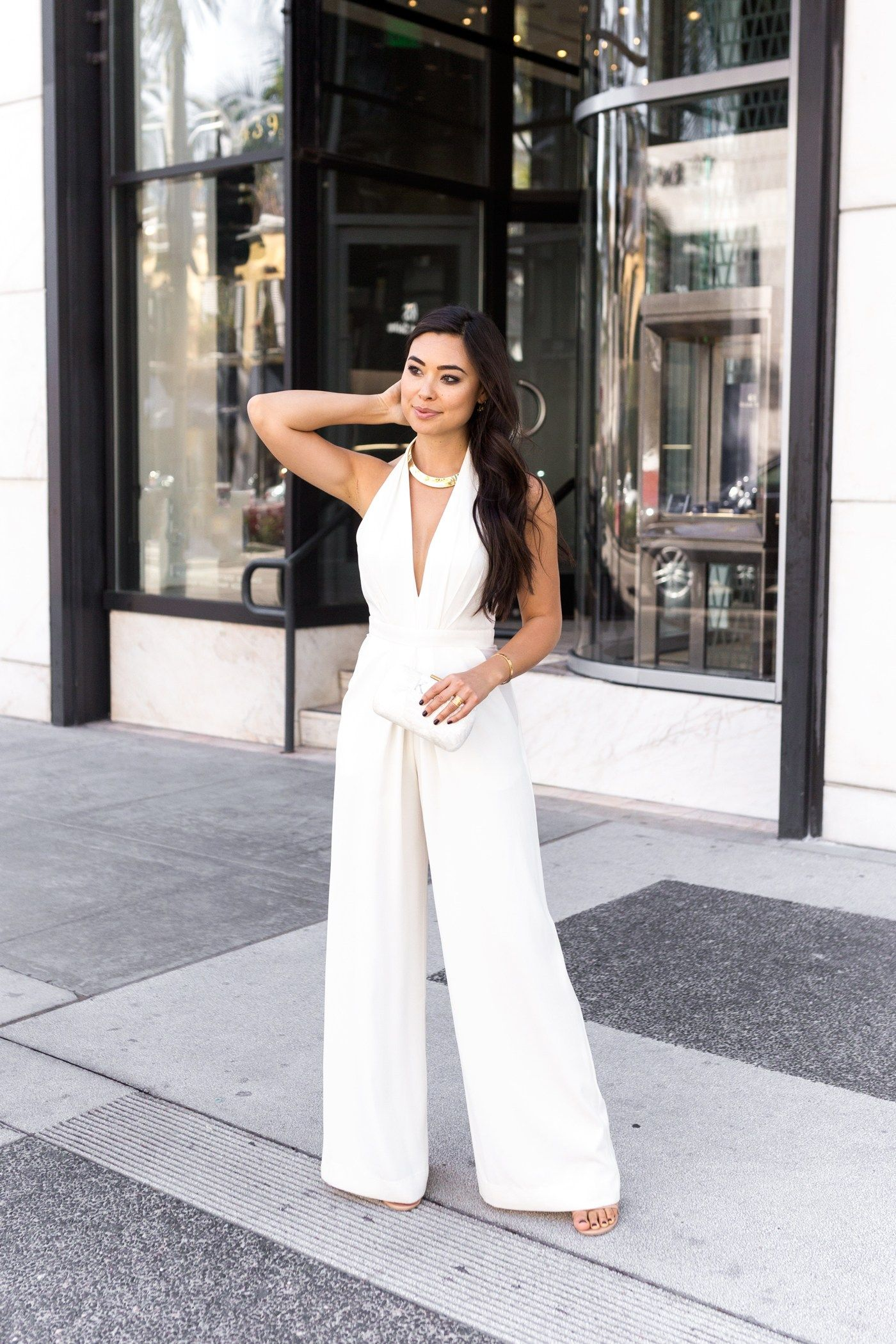 White Jumpsuit Wedding Look With Love From Kat White Jumpsuit Wedding White Jumpsuit White Jumpsuit Outfit