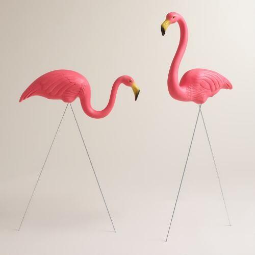 2x Pink Flamingo Lawn Figurine Patio Garden Party Animal Ornament Decoration