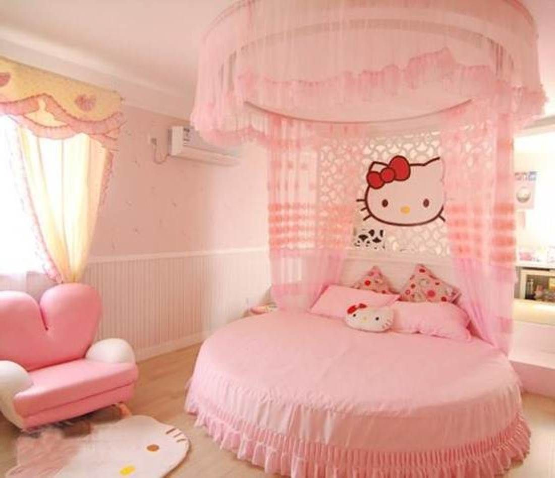 Bedroom ideas for girls hello kitty - Hello Kitty Bedroom Pink Hello Kitty Girl Bedroom Design Decor Ideas With Round Bed