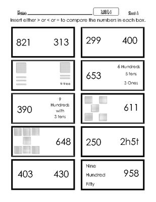 2 nbt 4 compare two 3 digit numbers using place value meanings from mrmaffesoli on. Black Bedroom Furniture Sets. Home Design Ideas