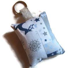 Porte-clés en tissu étoiles rennes neige bleu blanc gris