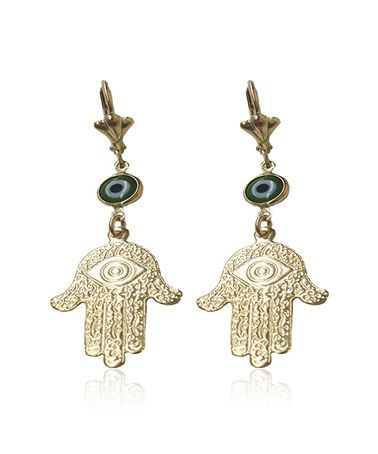 d5467eb3e Look what I found on #zulily! Gold & Green Hamsa & Evil Eye Drop ...