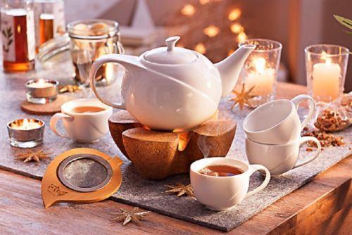 Teekanne Porzellan Mit Stövchen teeset service kork 7 tlg tassen teekanne porzellan kork stoevchen