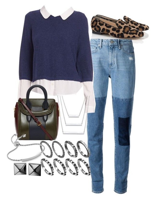 """""""Untitled #642"""" by arythebeeslayer on Polyvore featuring SchoShoes, Paige Denim, Joie, Alexander McQueen, Waterford and Monica Vinader"""