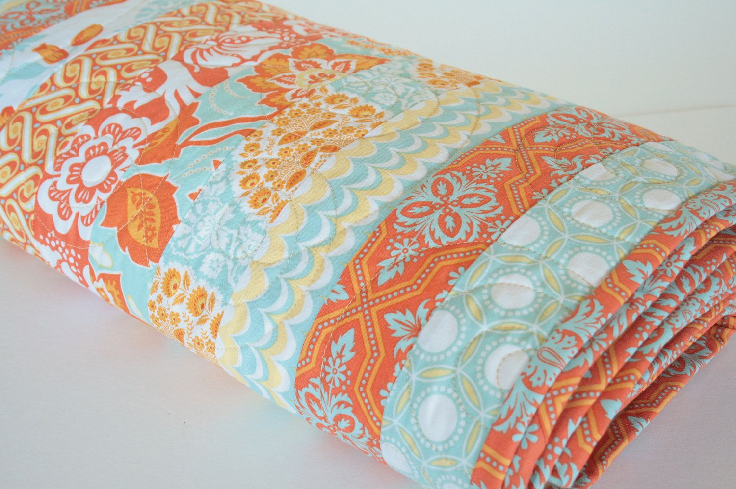 Delightful Modern Handmade Bed Quilt, Quilted Coverlet, Heirloom Quilt, Bedroom Decor  In Orange, Aqua And Yellow