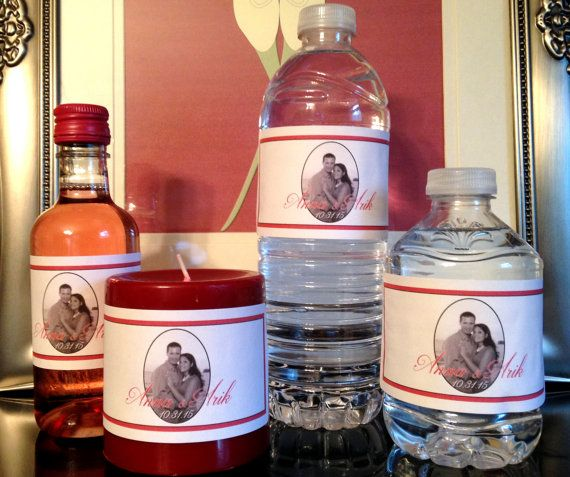Bridal Shower Wedding Personalized Favors Water by GMCHDesigns
