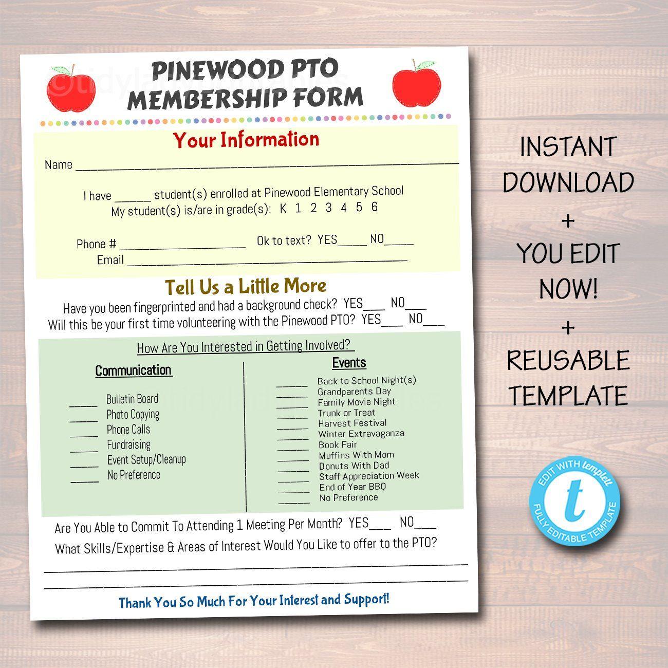 Pto Pta Flyer Printable Handout School Year Fundraiser Event Meeting Sponsorship Volunteer Signup Form Template In 2021 School Fundraisers Pta Membership Pta Organization Pta meeting sign in sheet