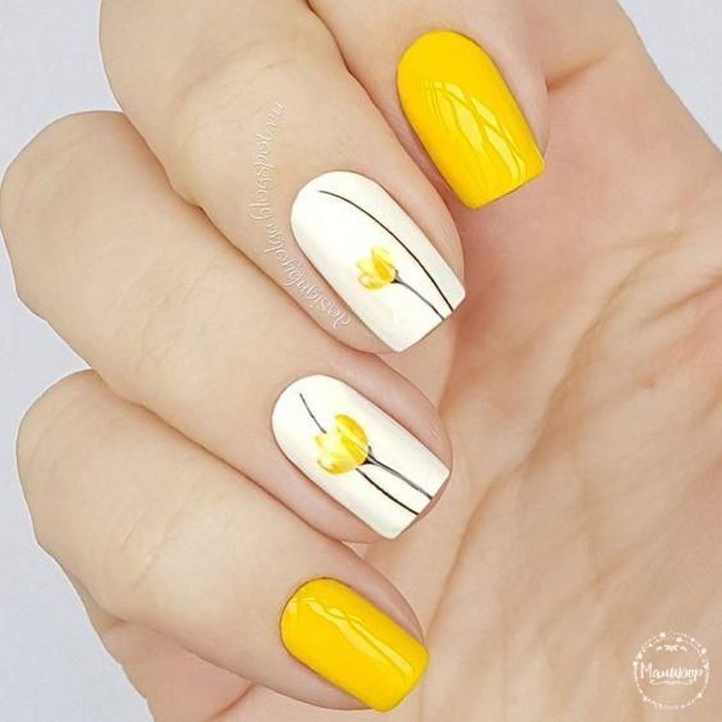 51 Trendy Yellow Nail Art Ideas Suitable For Summer | Yellow nail ...
