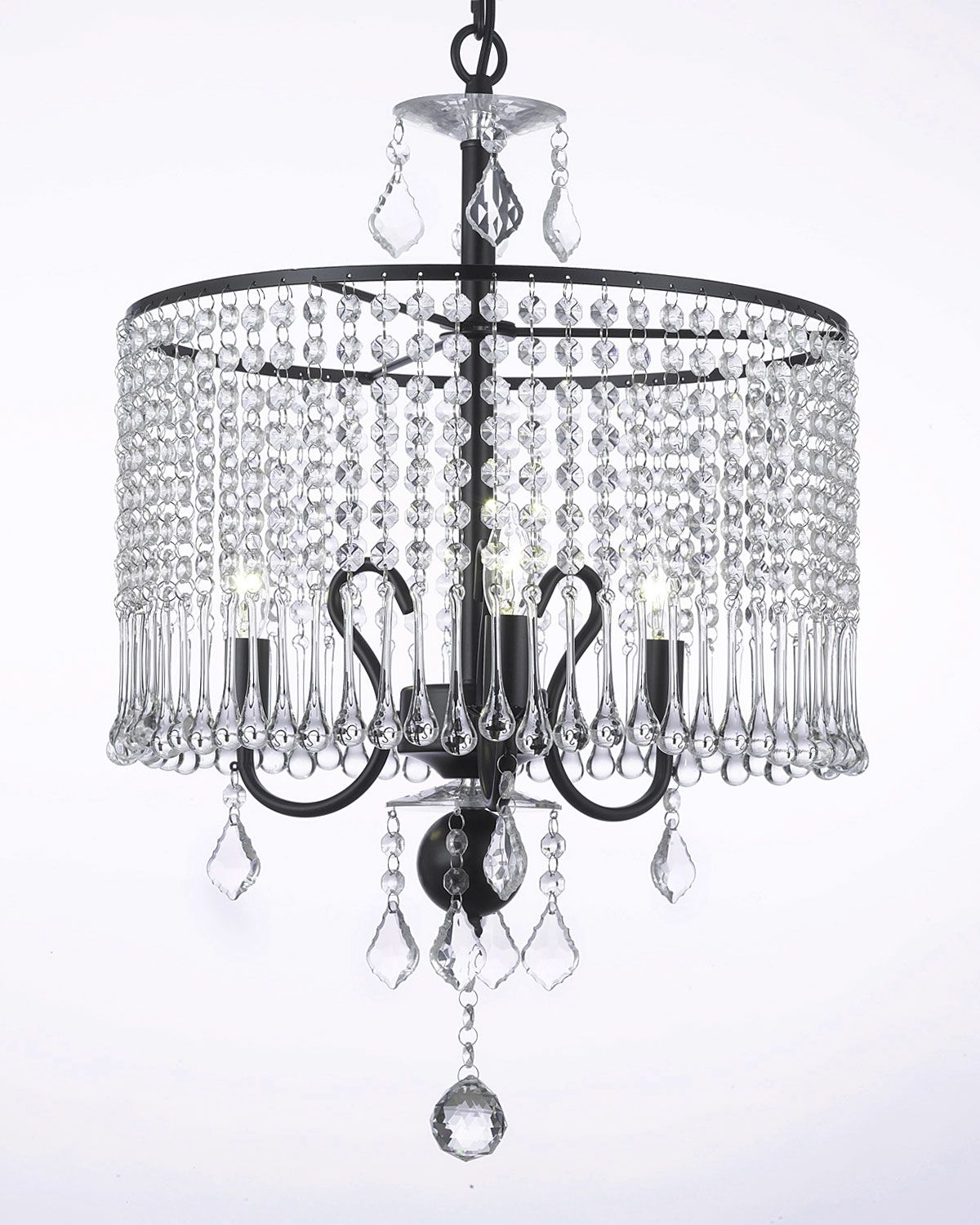 G7 Black 1000 3 Shade In Crystals Falling In A An 8 Crystal Drop 99 00 Crystal Chandelier Lighting Crystal Chandelier Wrought Iron Chandeliers