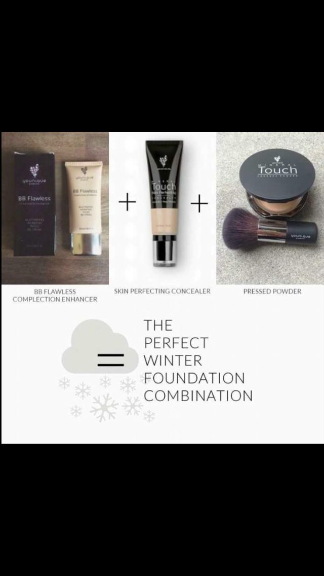 The perfect winter combination!!!  BB cream, Concealer and pressed Mineral touch Foundation!!    https://www.youniqueproducts.com/MariannePatout