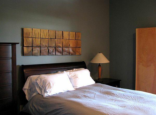 wandgestaltung kleines schlafzimmer elegante wanddeko metall