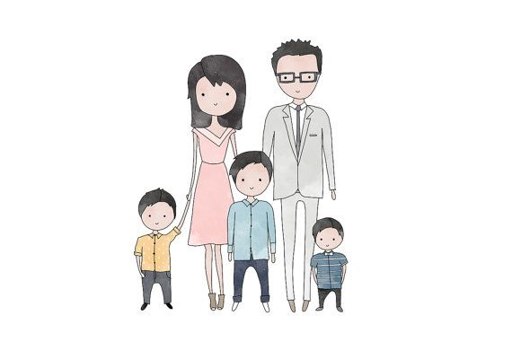 custom family portrait family of five hand drawn bespoke