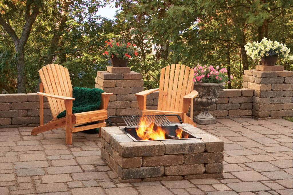 square paver patio with fire pit. Plain Patio Pavestone Square Fire Pit With Grid And Gas Insert For Paver Patio With