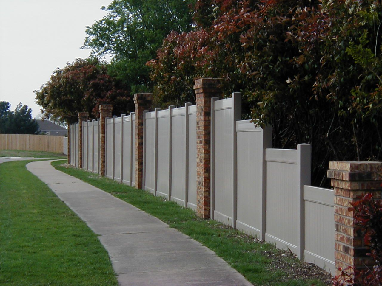 Vinyl privacy fence love the brick columns outdoor ideas vinyl fences can be custom installed when you call future outdoors we are the expert in vinyl fencing installing quality material with professional baanklon Gallery