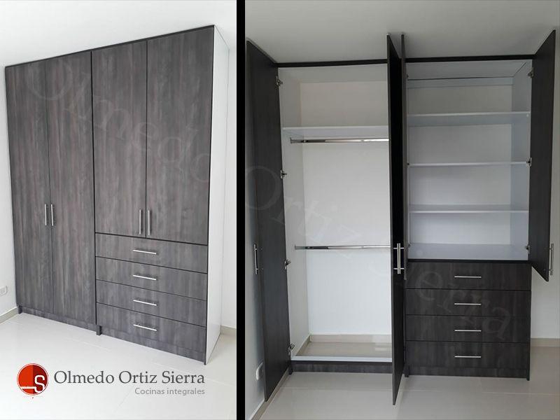 Closet Gris Oscuro Dos Modulos Con Entrepanos Y 4 Cajones Ideal Para Habitaciones Closet De Madera Diseno De Armario Para Dormitorio Diseno De Armario Pequeno