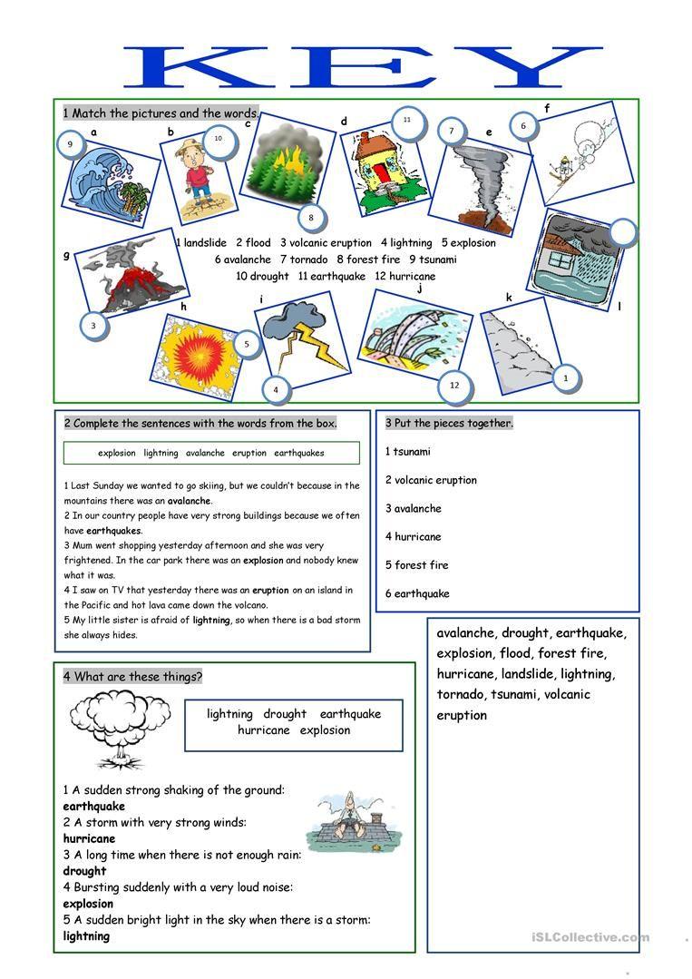 Natural Disasters Vocabulary Exercises Actividades De Ingles Actividades Ejercicios