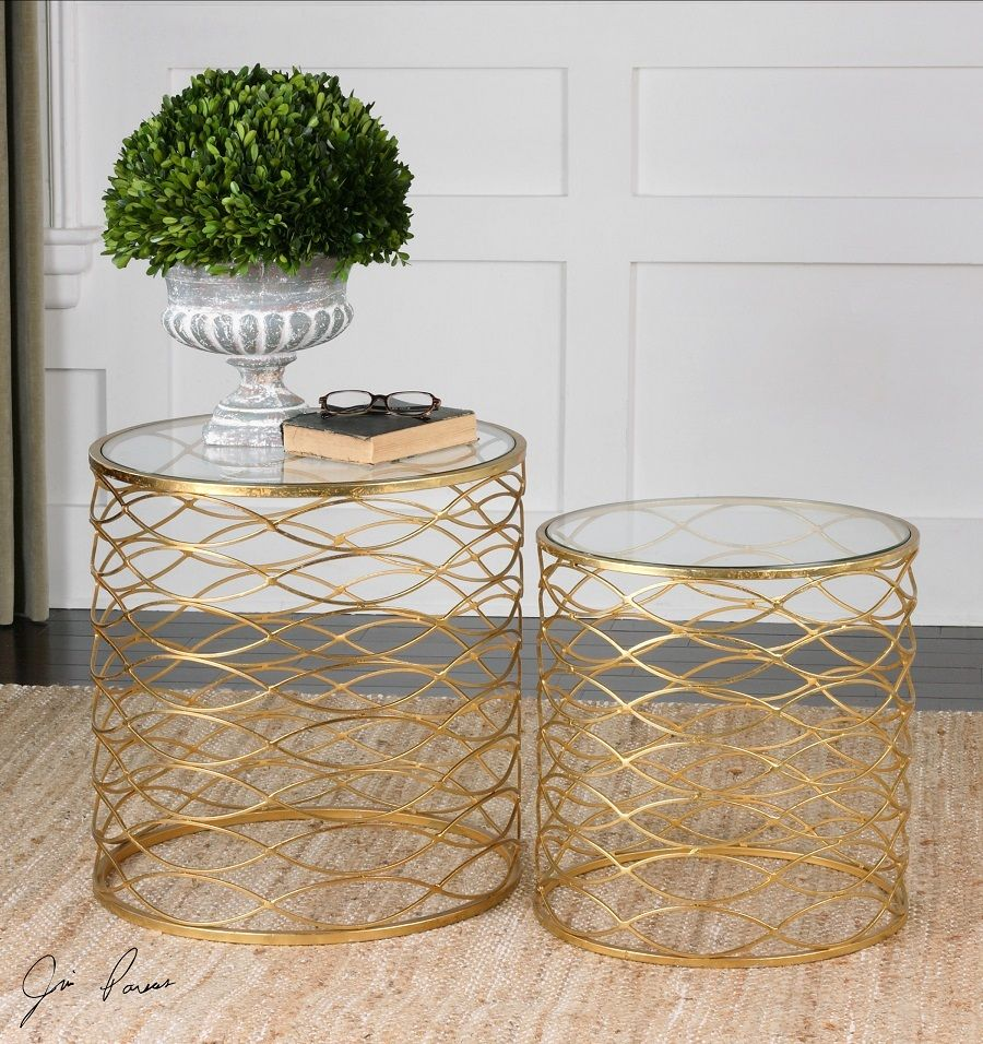 Zoa Bright Gold Leaf Glass Top Round Side Tables Gold Accent Table Round Accent Table Accent Table Sets