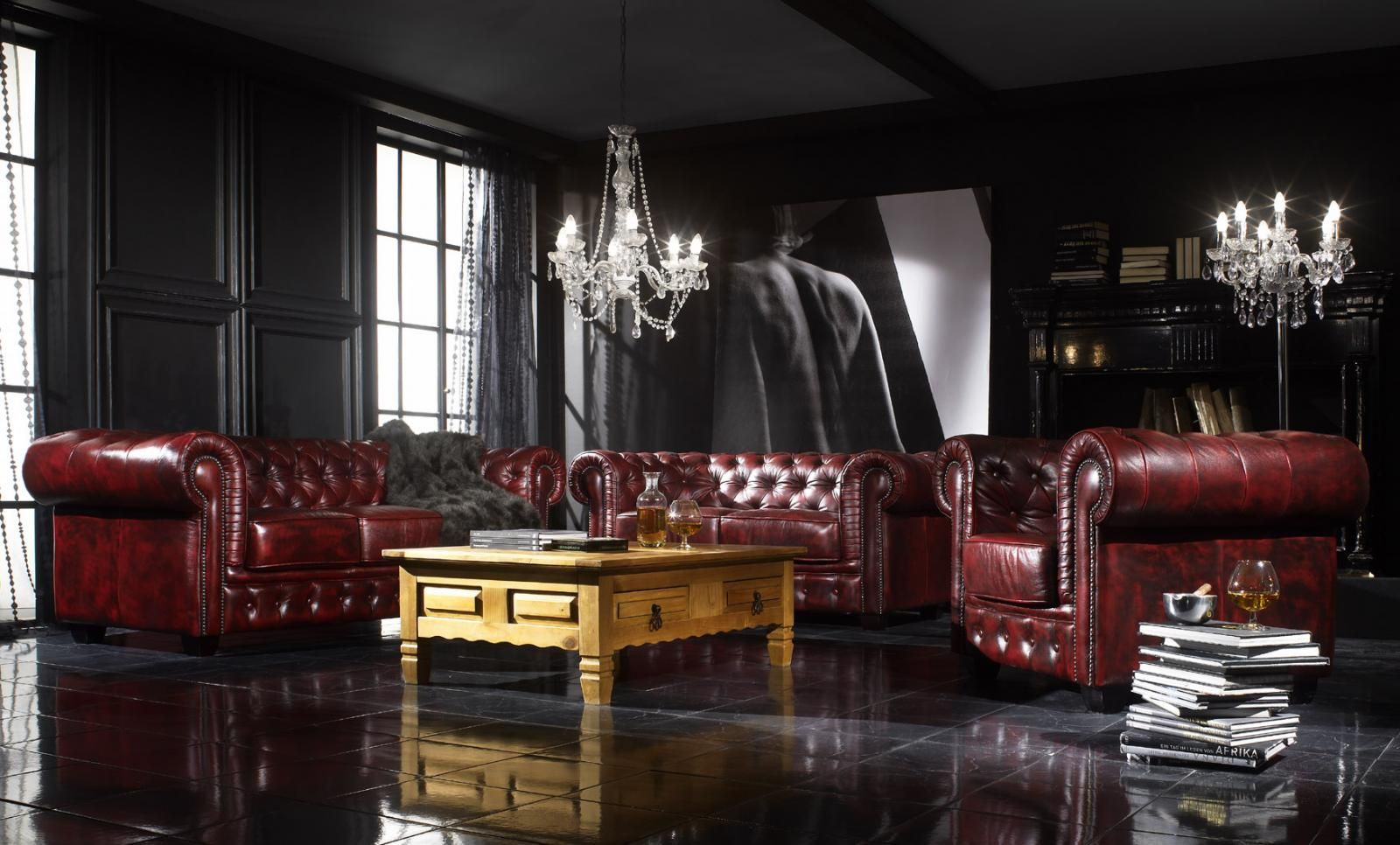 Chesterfield wohnzimmer  set Chesterfield red by massivum (real leather) | Sofas, Sessel ...