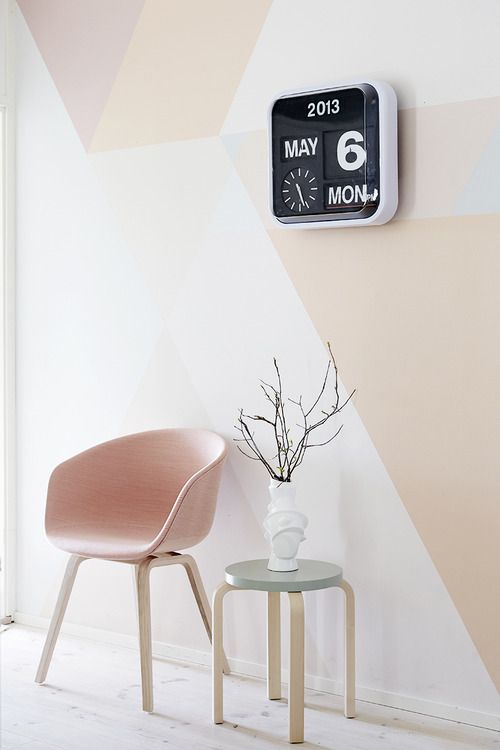 pastel geometric wall retro chair and clock - Pastel Furniture
