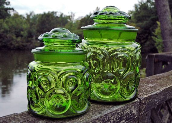 TWO Vintage LE Smith Moon U0026 Stars Green Glass Coffee And Tea Canisters