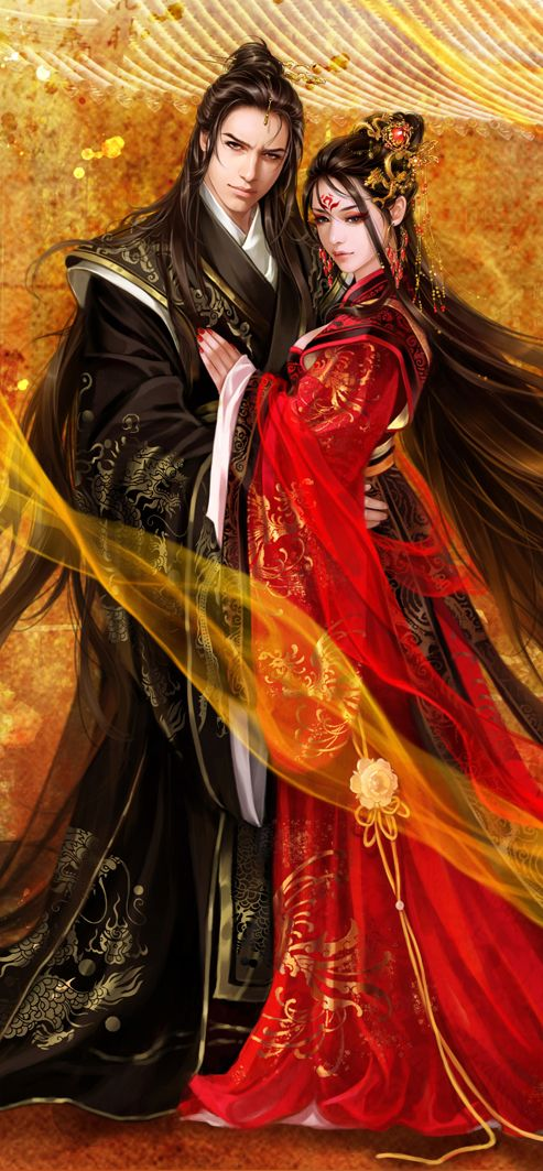 Cómo si pudiera ser yo esa Dama de Rojo <3 Mucha imaginación la mía Chinese classical by ~valleyhu on deviantART (cropped for detail)