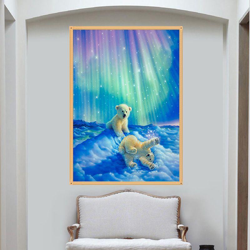 Diy 5D cross stitch Drill Diamond Fantasy Aurora Polar Bear