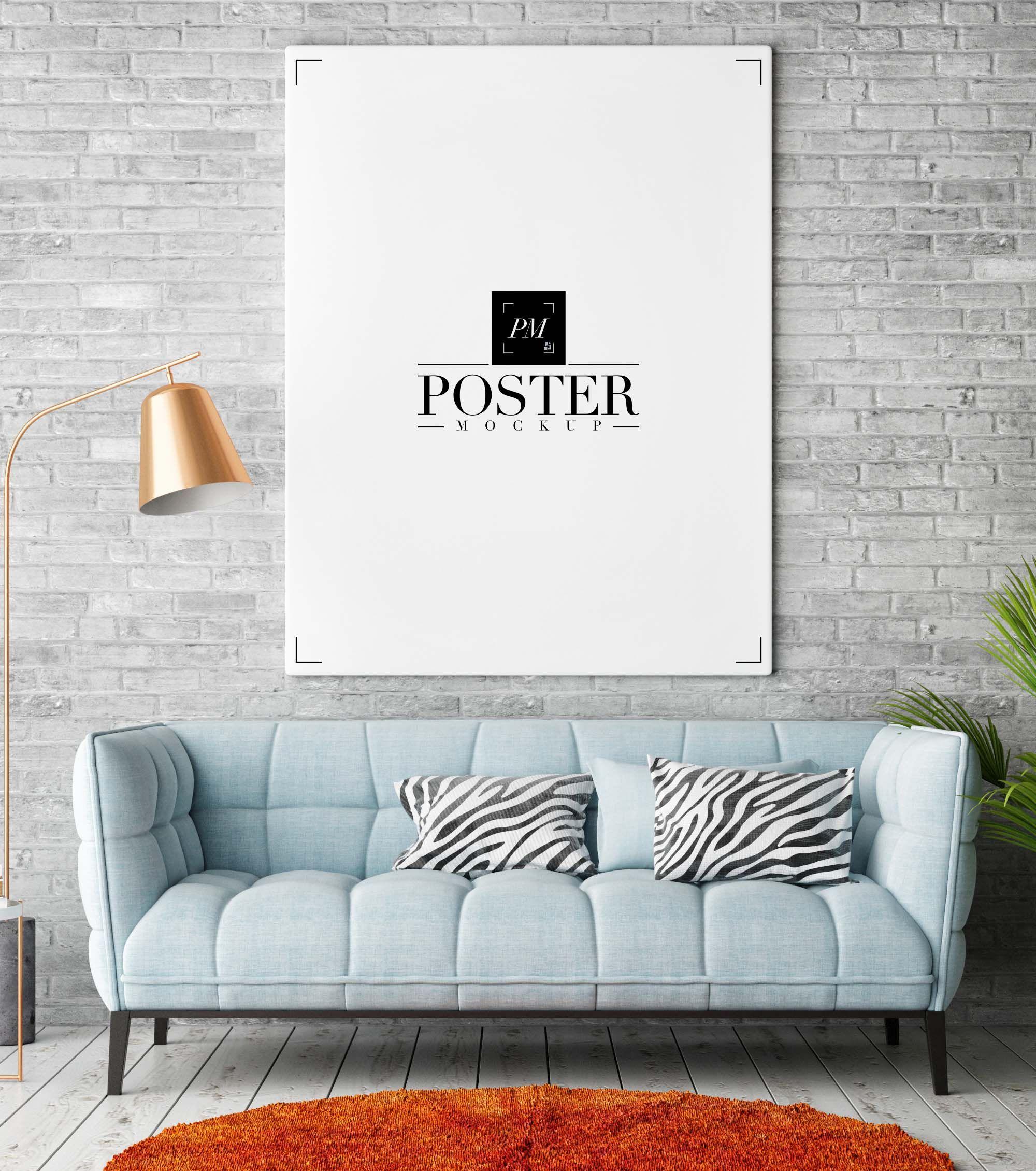 Free Room Interior Poster Mockup Psd Vdohnovenie Zhiznennye