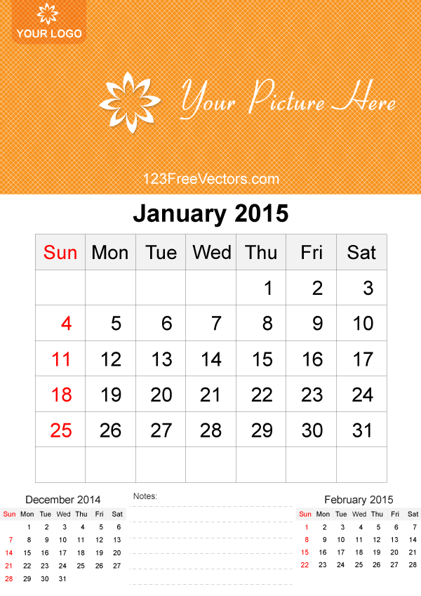 January 2015 Calendar Template Vector Free 2015 Calendar Template