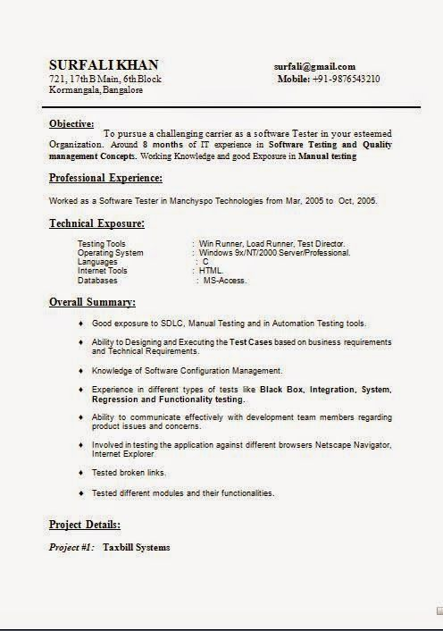 free student resume templates Sample Example of Beautiful CV - software tester sample resume