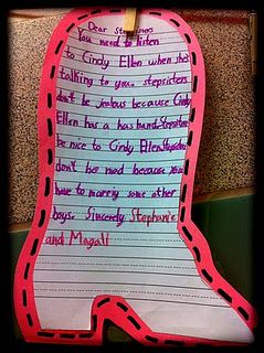 When reading different versions of Cinderella, have students write a letter to the step sisters on a shoe template!