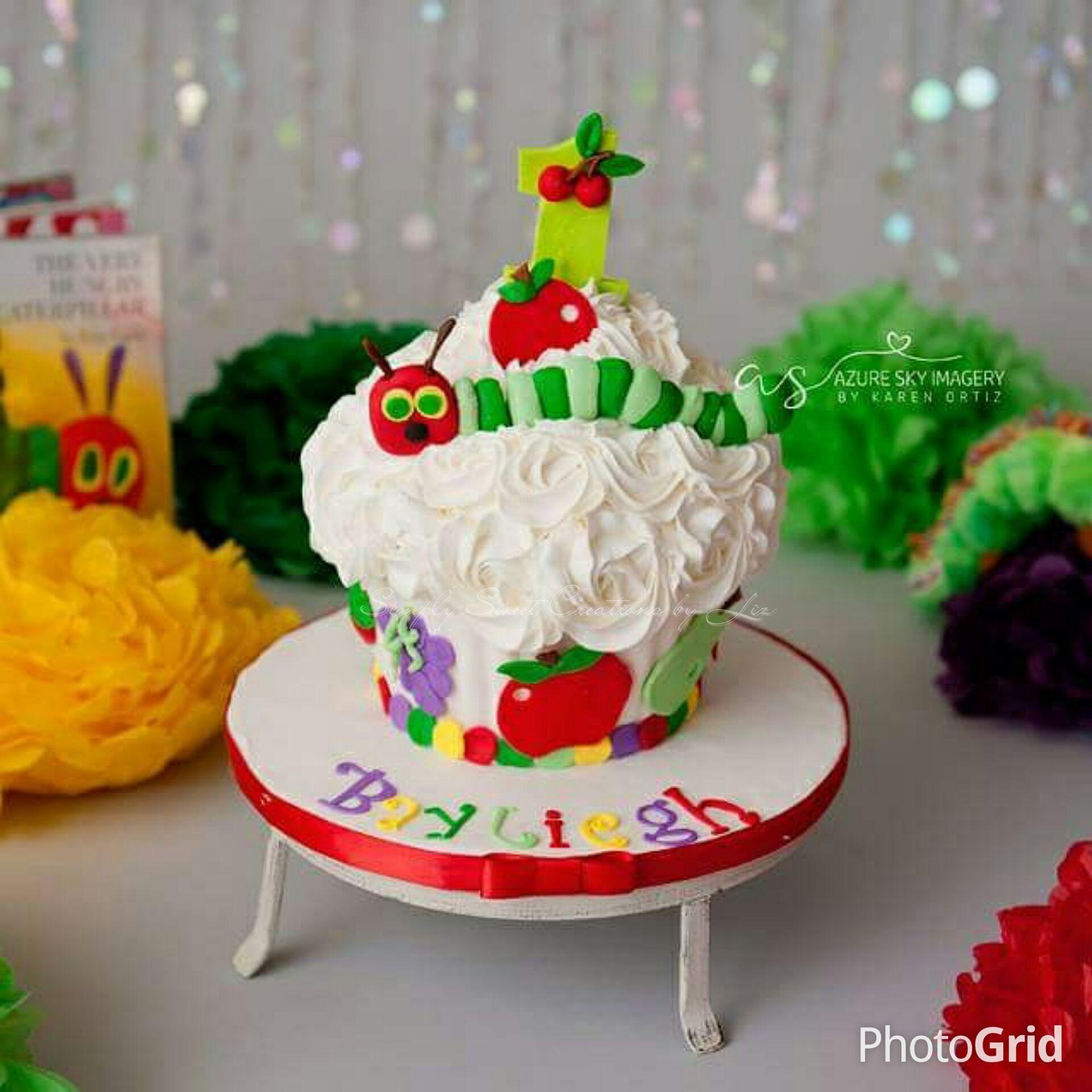 Enjoyable The Very Hungry Caterpillar Cake Smash Hungry Caterpillar Personalised Birthday Cards Veneteletsinfo
