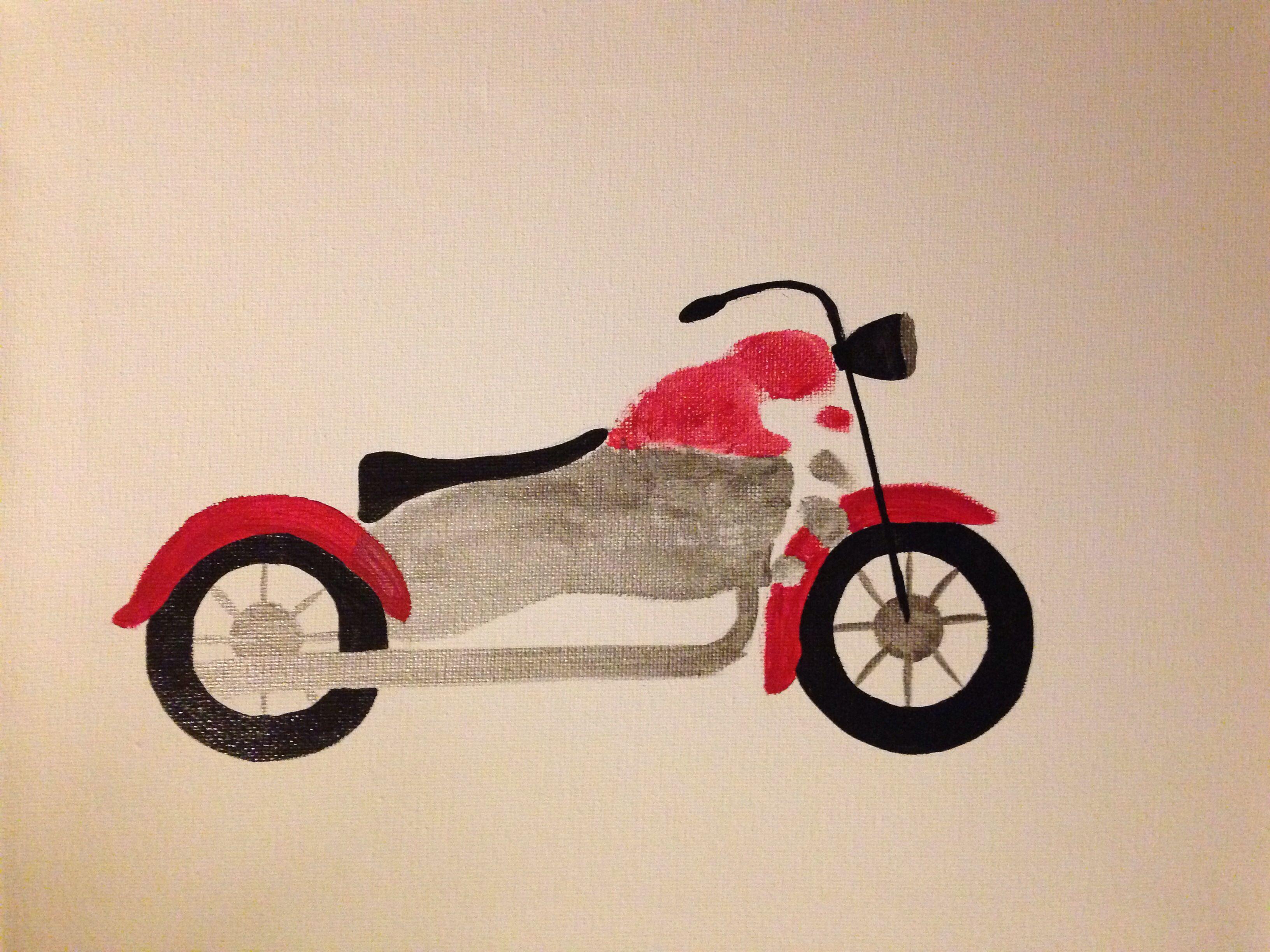 motorcycle footprint art fu h nde abdruck handabdruck. Black Bedroom Furniture Sets. Home Design Ideas