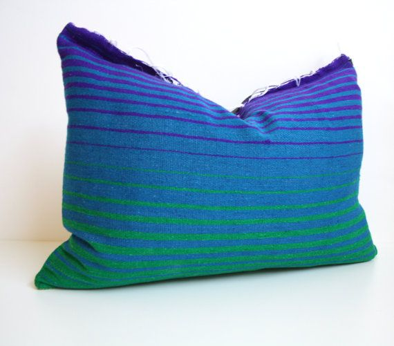 Serape Mexican Blanket Pillow   Blue   Green Gradient   Ombre   Desert  Modern   Southwest   Cushion 520e8c38c7fd