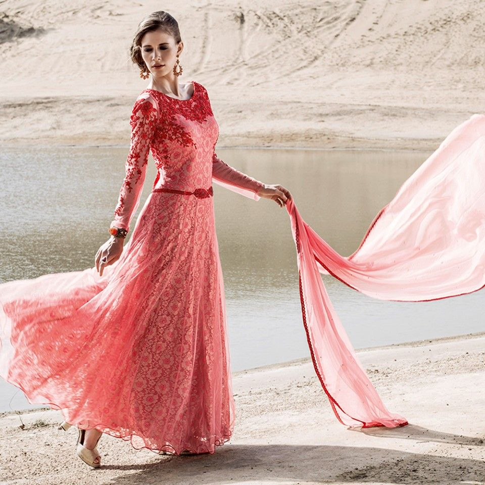 Pink long designer anarkali suit collection of salwar kameez