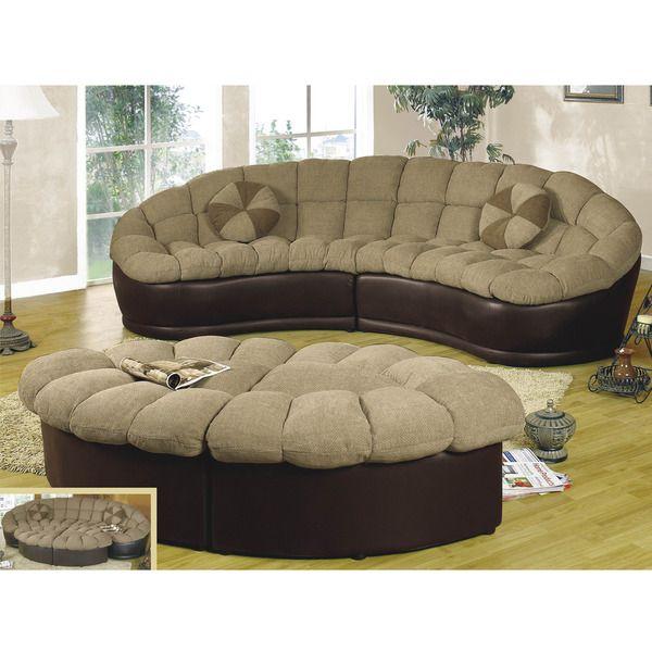 Alfa Importers Papasan Two Piece Sectional Sofa Beige Brown