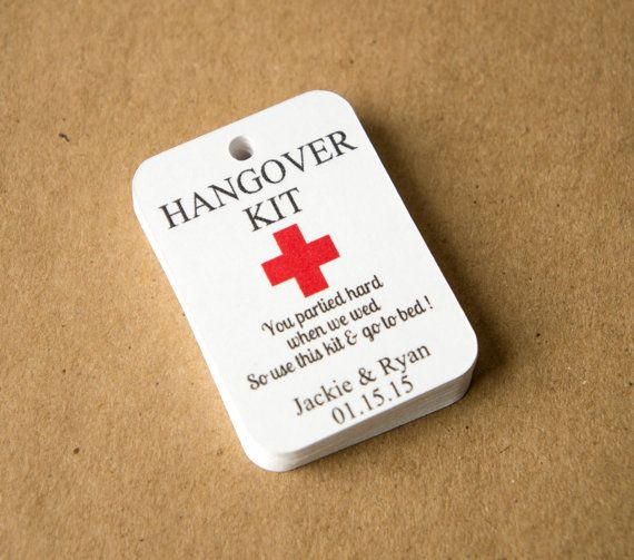 Rustic Wedding Favour Tags Hangover//Survival kit tags