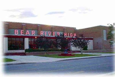 Old picture of Bear River High School in Tremonton Utah