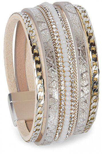 Armband mit Strasssteinen, Vintage Print und Kette, Magnetverschluss, Damen (Amazon de)