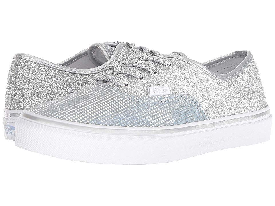 f9838f79ab Vans Kids Authentic (Little Kid Big Kid) Girls Shoes (Metallic Glitter)  Silver