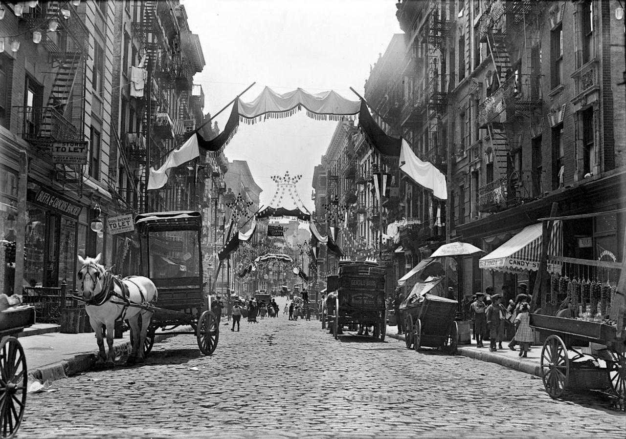 Italian festa. Mott Street decorated for religious... - Back then...