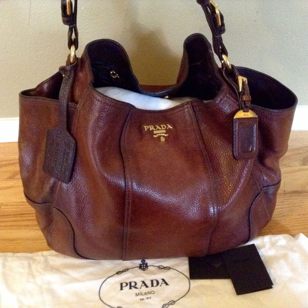 PRADA Cervo Antik Deerskin Jumbo Cacao Gradient Accent Satchel Tote  Shoulder Bag