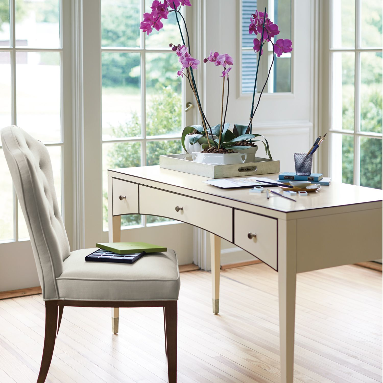 Haven Desk With Cameo Finish On Maple Veneers Pin Striping And Metal Ferules