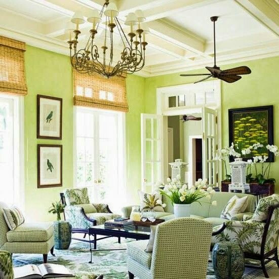 Green wall color for the beach house. I\'m not sold on the decor ...
