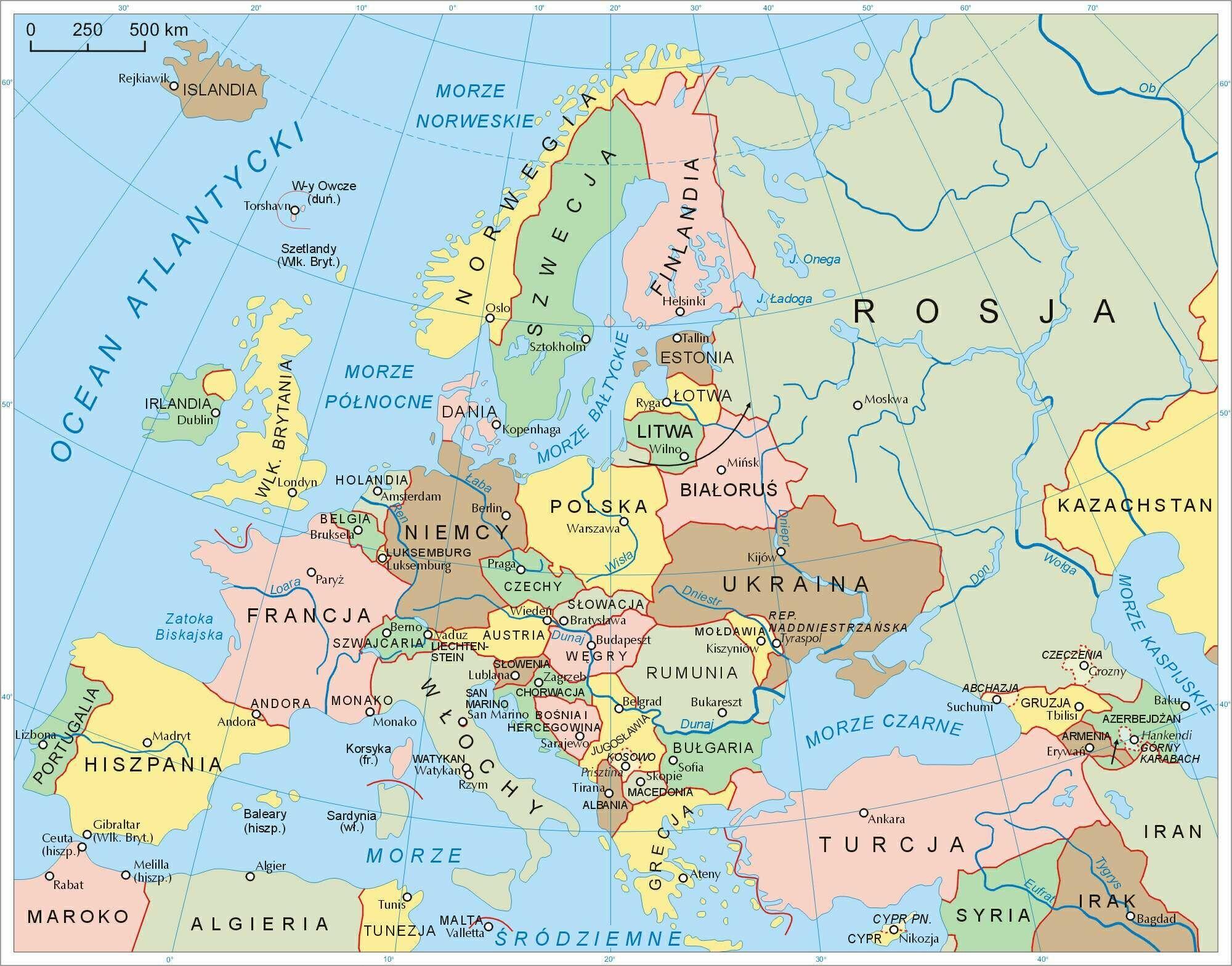 Znalezione Obrazy Dla Zapytania Mapa Polityczna Europy Mapa Europa