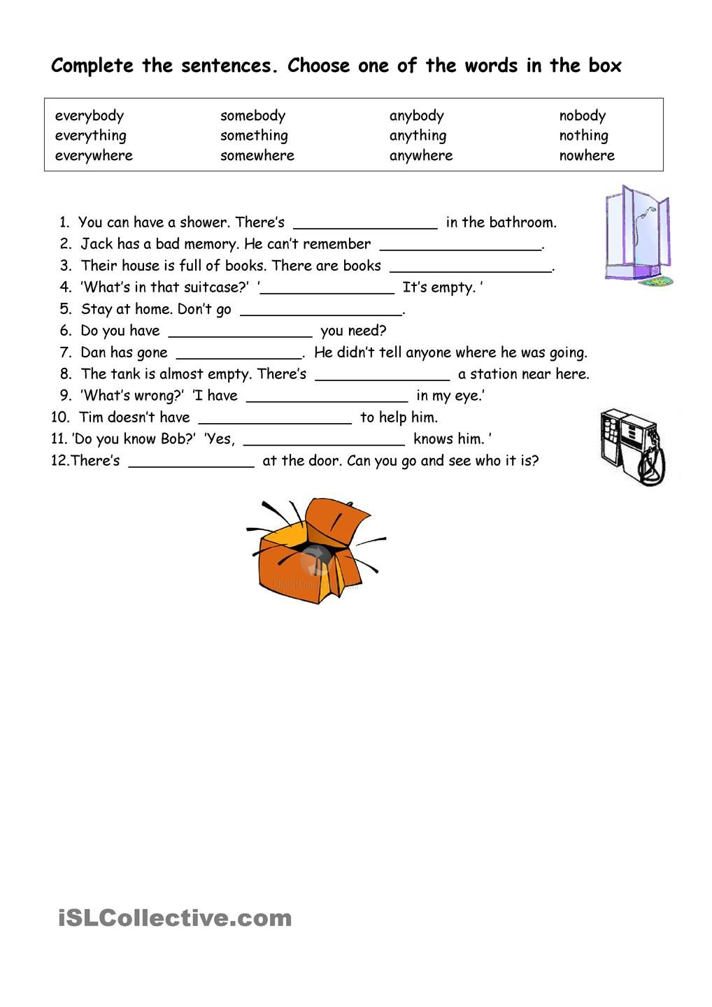 Indefinite Pronouns Worksheets Printable