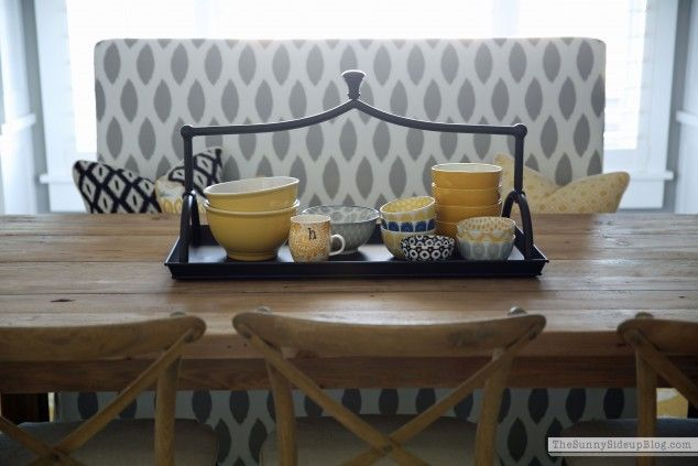 Bowls and benches!  Decor decisions on the blog.  :) (Sunny Side Up)