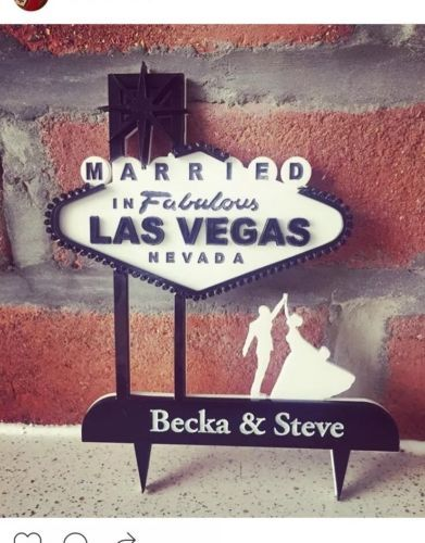 Personalised Wedding Mr And Mrs Las Vegas Cake Topper In Your Choice Of Colour
