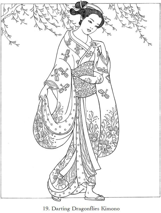 Japanese Kimono Designs Coloring Book Sketch Coloring Page | Paper ...